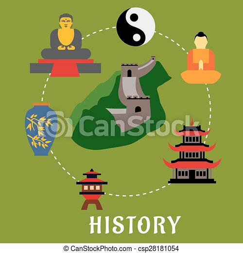 Clipart Vector of Chinese historical flat landmarks and ...