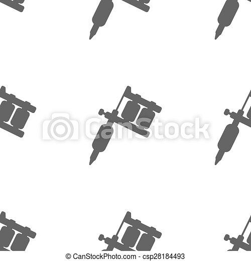clipart vector of tattoo machine - modern flat tattoo machine icon