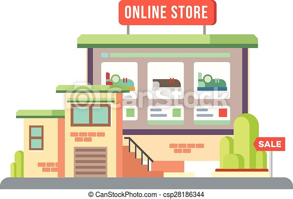 Eps Vector Of Online Shop Building Flat Design Online