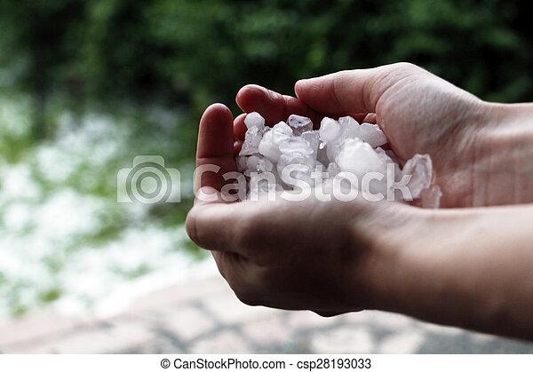 Hands hold ice - csp28193033