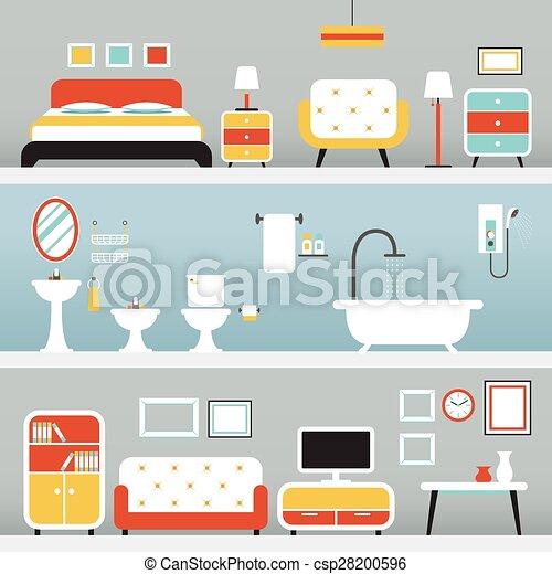 EPS Vectors of Furniture in Bedroom, Bathroom, Living Room ...