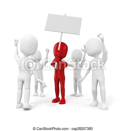 組, 人們, 抗議,  -, 人,  3D - csp28207380
