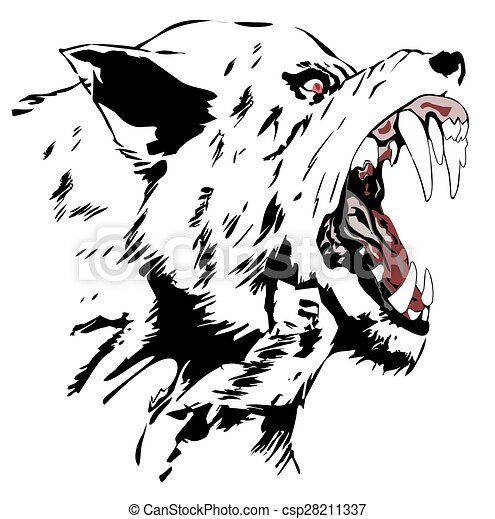 Drawings of Wolf - Black wolf, Cartoon Angry Wolf Head, Vector ... Angry Black Wolf Drawing