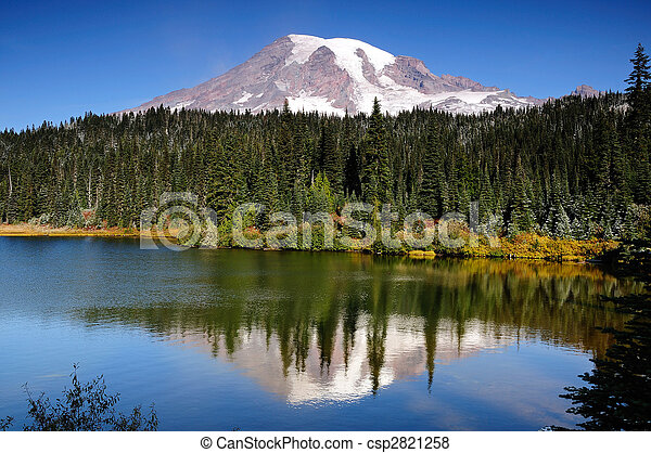 Mt Rainier with reflection - csp2821258