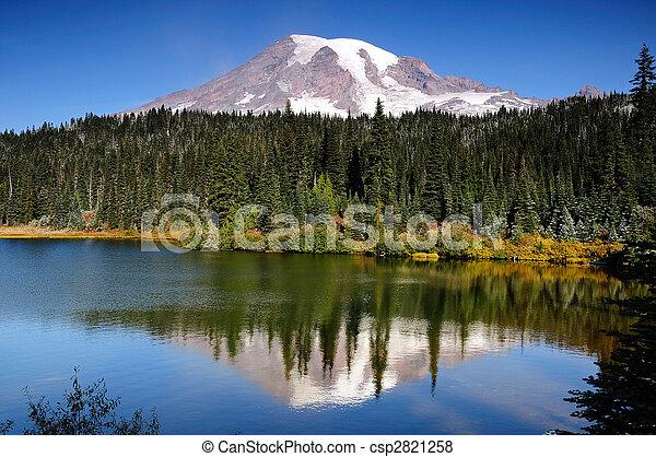 Mt Rainier with reflection - csp2821258