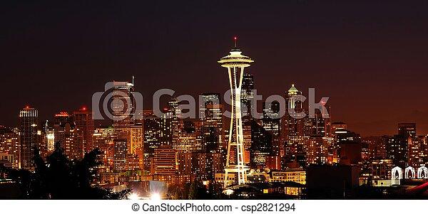 Glittering Seattle skyline - csp2821294