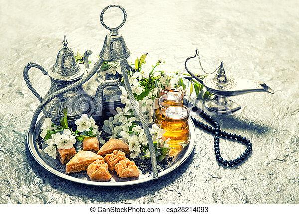 Islamic holidays food with decoration. Ramadan kareem. Vintage style