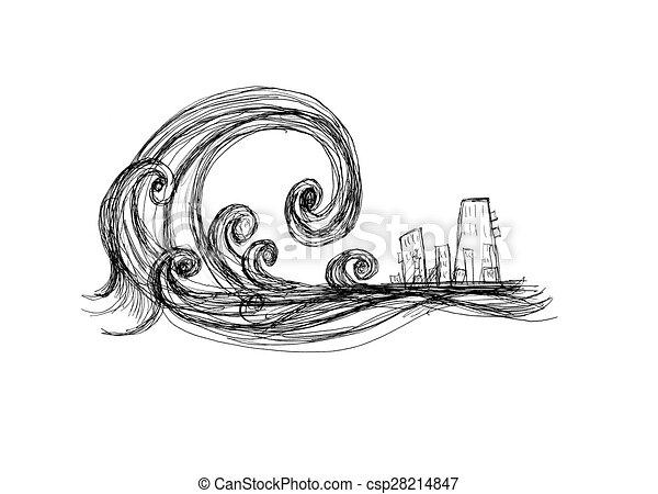 Tsunami - Royalty Free Clipart - csp28214847