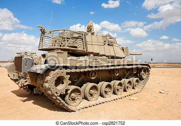 Old Israeli Magach tank near the military base in the desert  - csp2821752