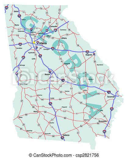 Georgia State Interstate Map - csp2821756
