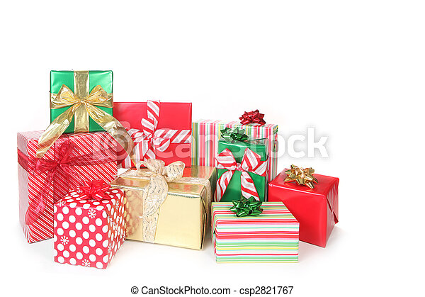Pretty Christmas Gifts Wrapped up on White - csp2821767