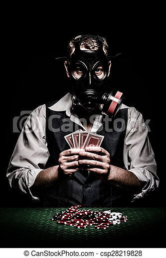 Poker player with a gas mask on his head