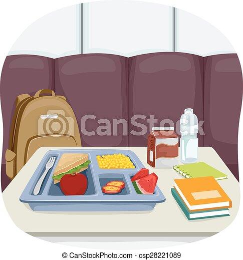 Tisch schule clipart  Vektor von lebensmittel, tisch, schule, cafeteria - Illustration ...