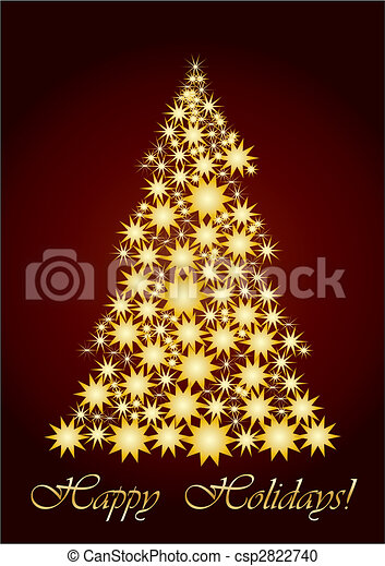Starry Christmas tree  gold - csp2822740