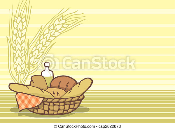 Basket of breads background vector - csp2822878