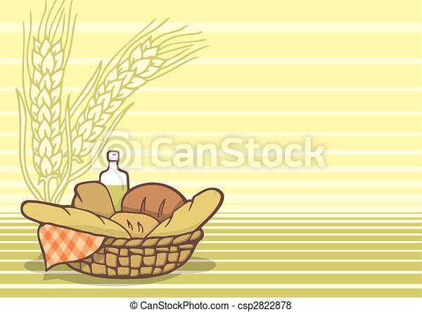 Basket of breads background vector - csp2822878