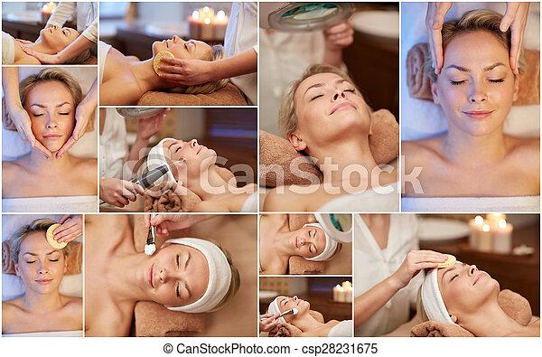 woman having facial massage in spa salon