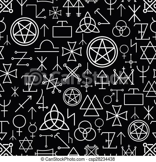 Mystical seamless pattern on black background - csp28234438
