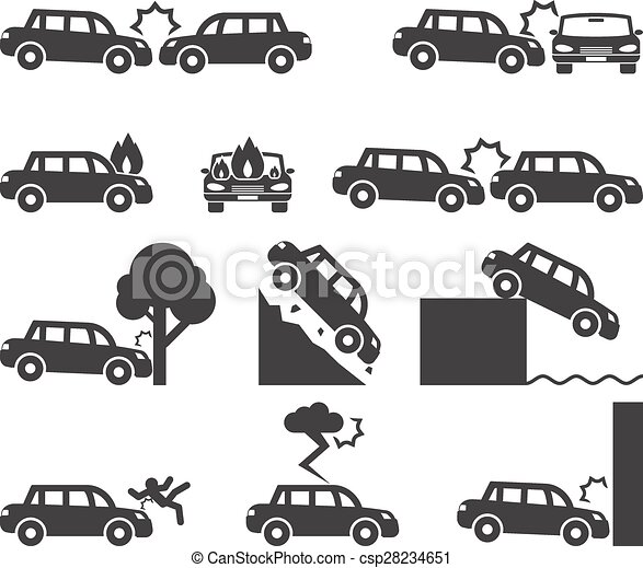 Clipart Vector of Car crash and accidents icon set. Cliff down ...