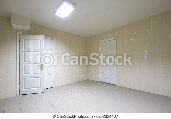 Empty hospital hall with electric lights