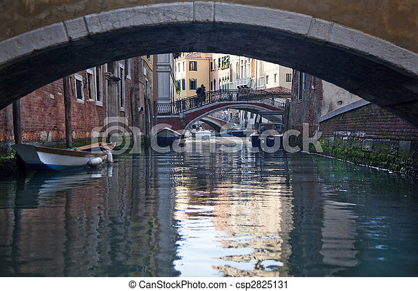 Small Side Canal Bridges Venice Italy - csp2825131