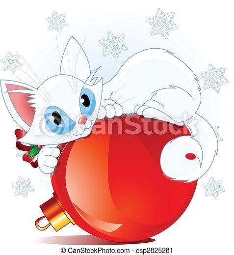 Vector , blanco, navidad, gato