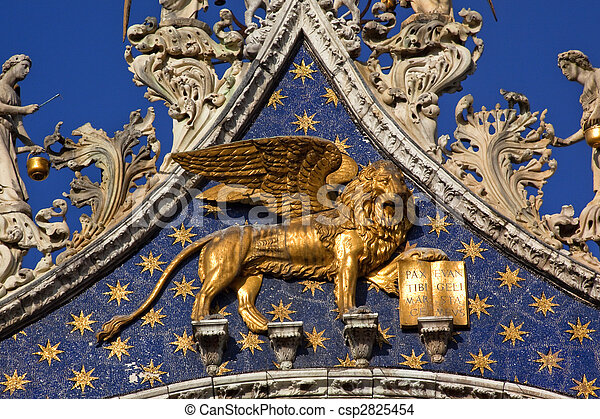 Saint Marks Basilica Winged Golden Lion Venice Italy - csp2825454