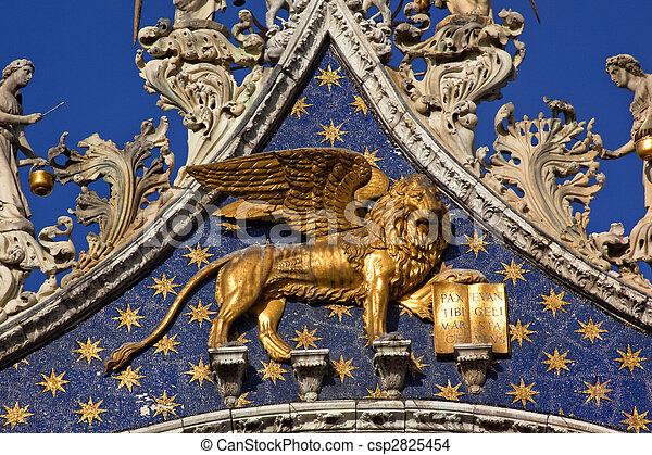 Saint Marks Basilica Winged Golden Lion Venice Italy - csp2825454