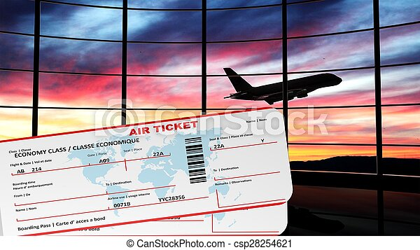 Air tickets with sunset and airplane silhouette as background - csp28254621