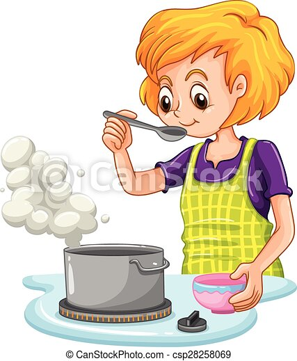 clip art vector van het koken vrouw  vervaardiging  soep elk clip art borders elk clip art borders