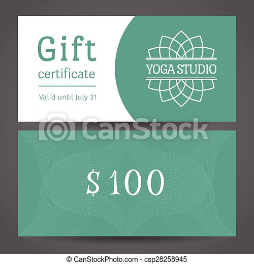 gift certificate template with logo eps vector of yoga studio vector gift certificate template
