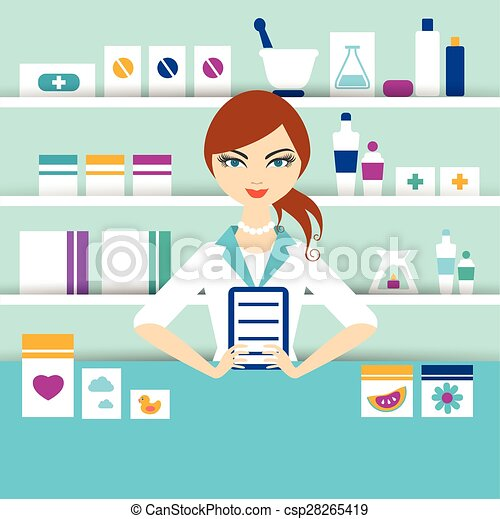 vector clip art of young pharmacy chemist girl standing in