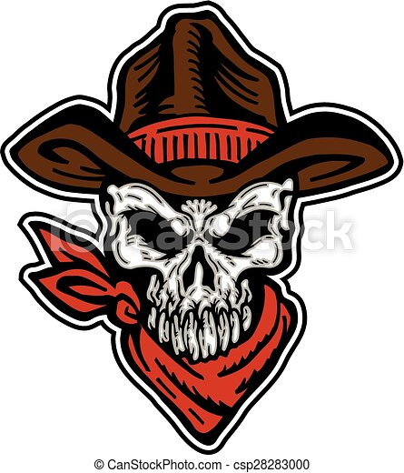 Vector Clipart Of Cowboy Skull Mascot With Hat And Bandana Csp28283000 Search Clip Art