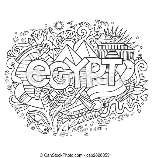 Egypt hand lettering and doodles elements background - csp28283531