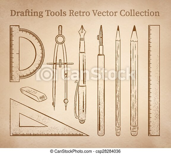 Vectors Of Drafting Tools Drafting Tools Hand Drawn