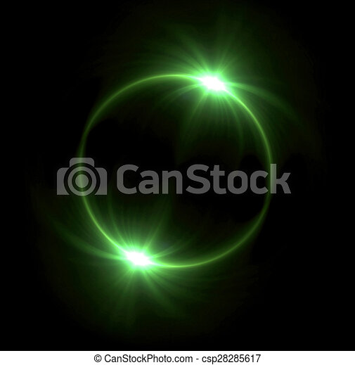 Clipart of green Solar eclipse in space concept with green ring ...