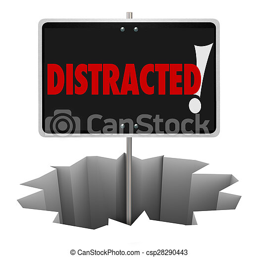 Distracted Warning Sign Danger Hole Pay Attention - csp28290443