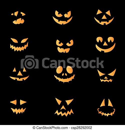 Clipart vettoriali di pauroso facce halloween zucca for Zucca di halloween disegno