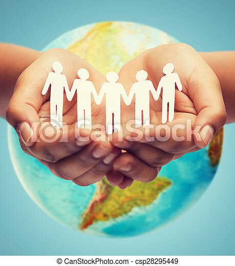 close up of human hands with earth globe - csp28295449