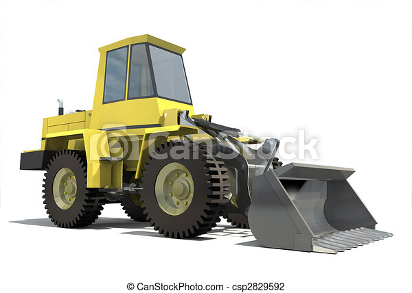 Heavy tractor with a bucket. Isolation on white background. Render. - csp2829592