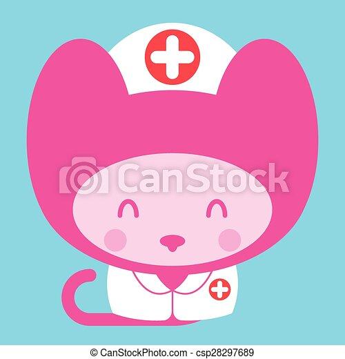 Vector de Kawaii, poco, rosa, niña, gato, Enfermera, doctor ...