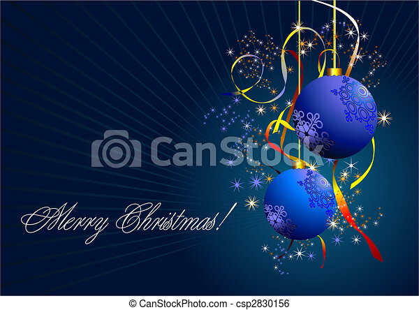 Christmas - New Year shine card with blue balls  - csp2830156