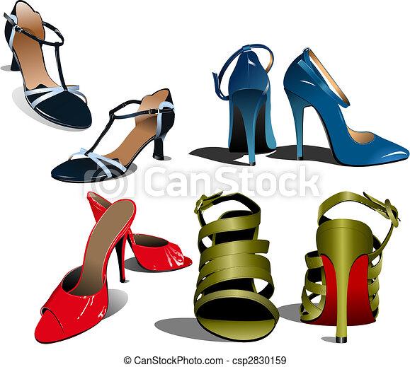 Fashion woman shoes. Vector illustration  - csp2830159