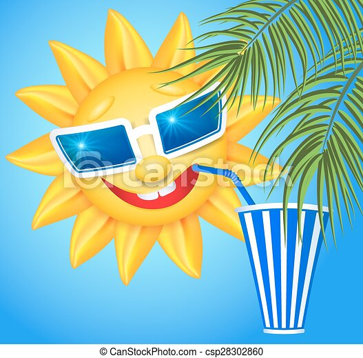 Clip Art Vector of Funny sun drinking cool drink from straws and ...