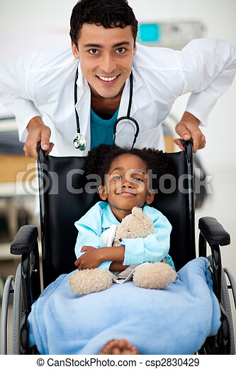 Young Doctor with a sick child - csp2830429