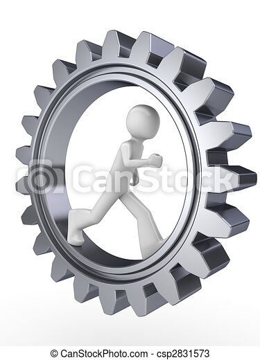 Human power (man walking inside gear) - csp2831573