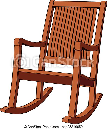 Clipart Vector Of Wooden Rocking Armchair On White