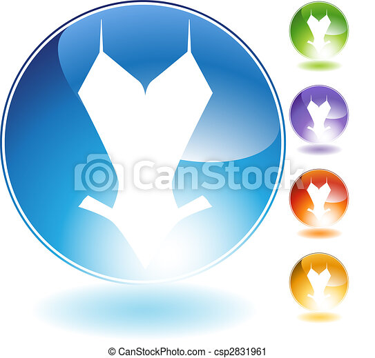 Vector Clip Art of One Piece Swimsuit Crystal Icon - One ...