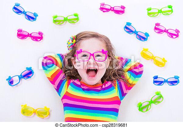 Little girl wearing eyeglasses