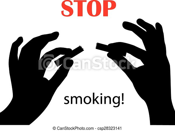 EPS Vector of Stop smoking! - silhouette of hands breaking a ...